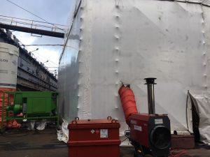 Tijdelijke verwarming bij onderhoud aan schip